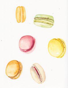 Macaroon drawings- Kate Harvey, Food Illustrations