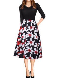 Women Vintage V Neck Floral Print Swing Dress