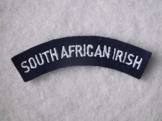 SOUTH AFRICAN IRISH REGIMENT CLOTH SHOULDER TITLE MILITARY BADGE. WHITE ON BLUE in Collectables, Badges/ Patches, Military Badges | eBay Africans, Commonwealth, Badges, South Africa, Irish, Patches, Army, Military, Shoulder