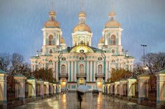 russia saint petersburg | St. Nicholas Maritime Cathedral in St Petersburg, Russia on a rainy ...