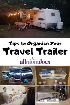 travel trailer organization Tips to Organize Your Travel Trailer - Camper Organization for Small Spaces Small Travel Trailers, Travel Trailer Camping, Small Campers, Travel Trailer Remodel, Rv Trailer, Rv Campers, Travel Trailer Decor, Travel Trailer Living, Teardrop Campers