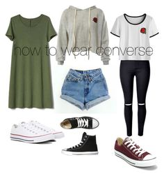 """""""how to wear converse"""" by arkatonic on Polyvore featuring Levi's, Sans Souci, Converse and Gap"""