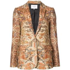 Frame Denim Gold Classic Persian Blazer ($298) ❤ liked on Polyvore featuring outerwear, jackets, blazers, gold, gold jacket, print blazer, colorful jackets, multi colored blazer and gold blazer jacket