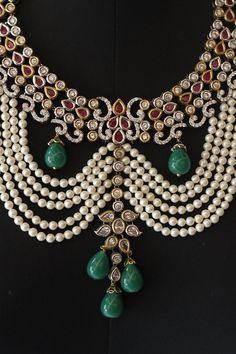A Pearl and Kundan Nizaam necklace