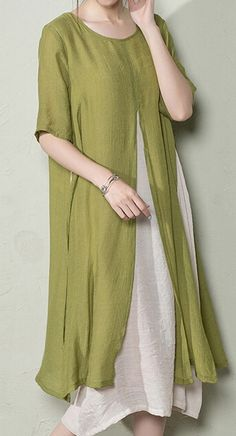 Olive plus size linen sundress
