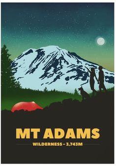 Mount Adams Print - US National Park Mountain Poster - Gift for Hiker, Climber Mountaineer - Mountain Art Fun Prints, Wall Art Prints, Different Dogs, Mountain Art, Us National Parks, Me As A Girlfriend, Seattle, Washington, Times