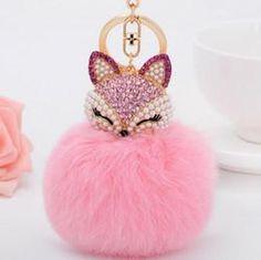 Fox keychain pink faux fur pompom - Porte-clés renard en strass et pompon rose en fausse fourrure