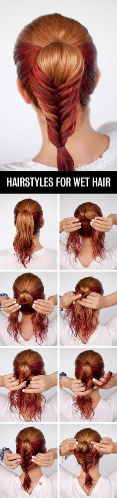 The Fishtail Ponytail Hairstyle Tutorial For Wet Hair - Wet Hairstyle Tutorial - Toronto, Calgary, Edmonton, Montreal, Vancouver, Ottawa, Winnipeg, ON