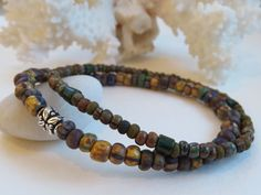Bohemian Men's Rustic Bracelet Set, Aged Seed Beads, Silver Accent, Simple Jewelry, Gift For Him