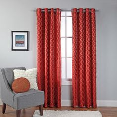 Broadway Embroidered Faux Silk Grommet Window Panel, Red