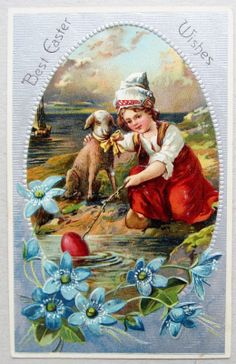 PFB Easter Young Girl w A Lamb Red Egg Postcard Emb Silver | eBay
