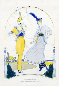 Victor Lhuer 1914 Fashion Illustration, Elegant Parisienne. LAMPSHADE OR FUSEAU ?