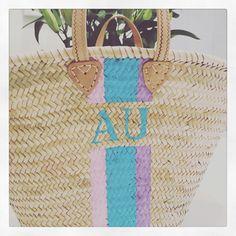 The Ibiza monogrammed basket in sweet pea colours Basket Bag, Ibiza, Straw Bag, Monogram, Colours, Sweet, Pink, Bags, Handbags