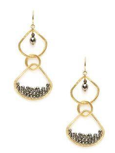 Gold Cutout Geometric Earrings by Chan Luu on Gilt.com