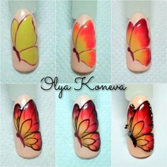 Heat Up Your Life with Some Stunning Summer Nail Art Animal Nail Art, 3d Nail Art, Nail Art Hacks, Nail Arts, Butterfly Nail Designs, Butterfly Nail Art, Nail Art Designs, Spring Nails, Summer Nails