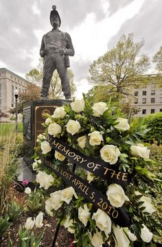 The Coal Miner Statue on the grounds of the West Virginia State Capital was memorialized to honor the 29 miners who died two years ago at the Upper Big Branch mine.