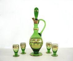 Vintage Glass Decanter Stemmed Glasses Set Emerald Green Gilt