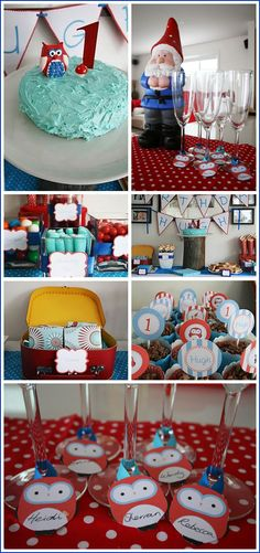 An enchanted forest party for boys-I like the owls with the kids name on the cup idea.