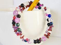 Purple Memory Wire Bracelet, Harlequin Colors, Gemstone Chip Bracelet by LaurieCrosbyDesigns on Etsy