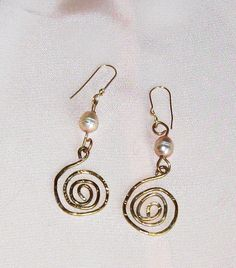 Long Hammered Gold and Pearl Celtic Spiral by MayroseTreasures, $35.00