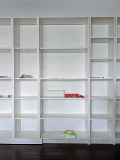 Turn IKEA billy bookcases into gorgeous built in bookshelves with these step by step instructions. Bookcase Door, Bookshelves Built In, Built Ins, Ikea Billy Bookcase Hack, Billy Bookcases, Billy Hack, Stair Paneling, Ikea Built In, Media Room Design
