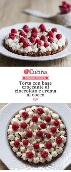 #Torta con base croccante al #cioccolato e crema al #cocco della nostra utente Alessia. Unisciti alla nostra Community ed invia le tue ricette!