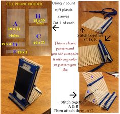 Cell phone holder in plastic canvas