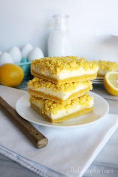 A delicious recipe for quick, and easy, cream cheese lemon bars!
