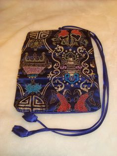 Beautiful Asian Design Royal Blue Satin Roll Up Jewelry Travel Case Bag Pouch