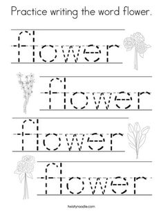 Practice writing the word flower Coloring Page - Twisty Noodle Coloring Pages Nature, Spring Coloring Pages, Flower Coloring Pages, Coloring Pages For Kids, Letters For Kids, Homeschool Kindergarten, Simple Words, Writing Practice, Kids Prints