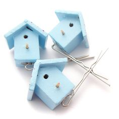 Birdhouse hairslides!  Oh yes. From Hand Over Your Fairy Cakes on Folksy