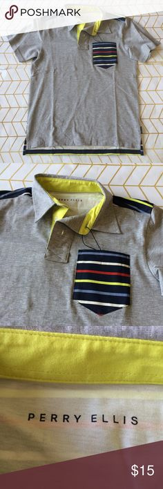 Sample Sale! Perry Ellis Boys Polo, M Perry Ellis Boys Super Sample Sale! Please read: All items marked down to $15, PLUS the applicable 10% bundle discount! Since these boutique items are already heavily discounted, list/bundle prices are firm, no Offers. Retail ranges from $45 to $75.   {{These items are direct from the manufacturer, and may have a sample tag instead of retail, or no tag added. Please check images for items specifics and comment any questions}} note: size on external tag…