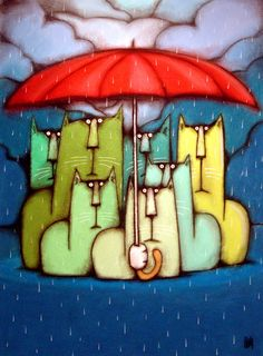 It was a Rainy Day by bigcatheads on deviantART I Love Cats, Crazy Cats, Cool Cats, Illustrations, Illustration Art, She And Her Cat, Umbrella Art, All About Cats, Here Kitty Kitty