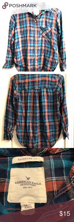 💚American Eagle thin flannel shirt, size X small Gently used women's American Eagle thin flannel shirt, size X Small.  Would look great with a pair of jeans and tall riding boots👍🏻 American Eagle Outfitters Tops Button Down Shirts