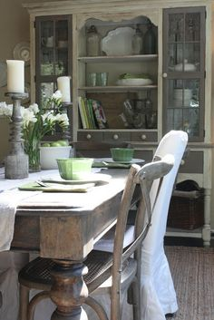 Dining Room with Weathered Grays :: My Sweet Savannah: ~adding spring touches in the dining room~