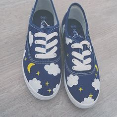 Japanese harajuku cute platform shoes canvas shoes from Women Fashion Harajuku hand-painted canvas shoes for 28 88 Custom Painted Shoes, Painted Canvas Shoes, Painted Sneakers, Hand Painted Shoes, Custom Shoes, Canvas Sneakers, Sneakers Fashion, Fashion Shoes, Kawaii Shoes