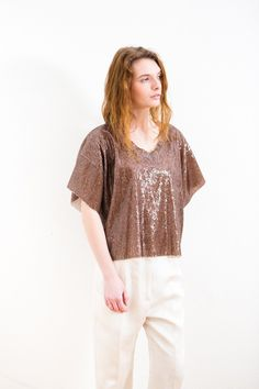 MM6 Maison Margiela Sequins Crop Short Sleeve Top