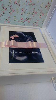 Caixa para Padrinhos com ultrassom do bebê e porta retrato!!!