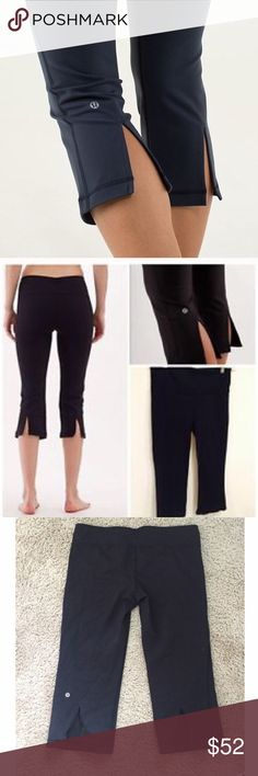 🍋Lululemon back slit crop. Size 10. Reposhing. Very minor piling. I never wore because I prefer the crops that have an elastic draw string which these do not. Love the back slits. Discontinued style. lululemon athletica Pants