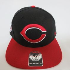 5526a9b3b4feb Cincinnati Reds MLB Sure Shot 47 Brand Captain Snapback Hat Black