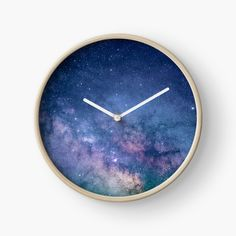 """Blue Purple Star Glitter Galaxy Artwork"" Clocks by newburyboutique Modern Prints, Art Prints, Quartz Clock Mechanism, Hand Coloring, Home Deco, Purple, Blue, Glitter, Stars"
