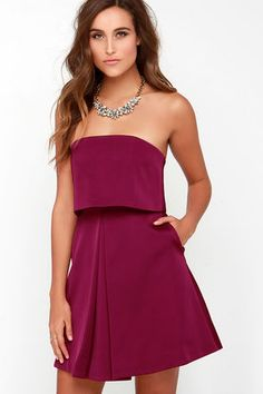 Keepsake Keep Watch Dress - Burgundy Dress - Strapless Dress - $169.00