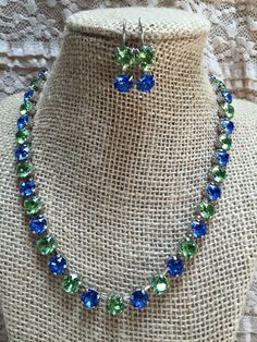 Sapphire and Peridot. Color combo of the Stingray Allstars with double drop earrings