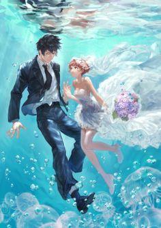 Kougama Shinya and Tsunemori Akane~Psycho-Pass Anime Couples Drawings, Couple Drawings, Cute Anime Couples, Manga Art, Anime Art, Manga Anime, Sailor Moon Background, Anime Wedding, Psycho Pass