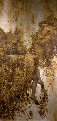 the paintings and artwork of brad kunkle. gold leaf artist and painter brad kunkle. Figure Painting, Painting & Drawing, Illustrations, Illustration Art, Silver Leaf Painting, Brad Kunkle, Kunst Online, Painted Leaves, Art Graphique