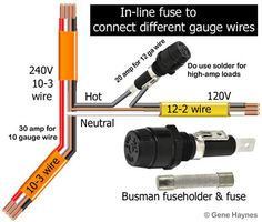Color code for residential wire/ how to match wire size and circuit breaker Electrical Panel Wiring, Electrical Code, Electrical Projects, Electrical Installation, Electrical Outlets, Residential Wiring, Electronics Basics, Electronic Schematics, House Wiring