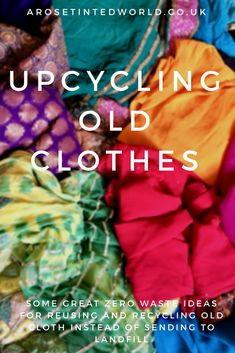 Upcycling Old Clothes ⋆ Fast Fashion is so environmentally unsound. Here are some zero waste and ecologically friendly ideas on saving fabric. Reuse, repurpose and recycle fabric with these… Recycled Decor, Upcycled Crafts, Recycled Fabric, Diy Crafts To Sell, Upcycled Clothing, Recycled Homes, Recycled Magazine Crafts, Recycled Shirts, Recycled Sweaters