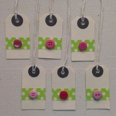 Green with pink button mini gift tags  set of 6 by MissChaelaBoo, £4.00 @Sue Gifford Folk