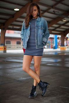 Ring My Bell:: Abercrombie & Fitch dress, Vintage Levis demin jacket, Dr Martens