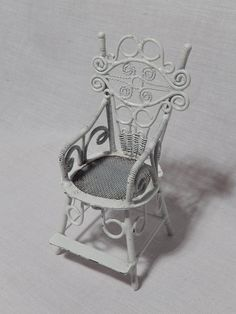 Vintage White Metal Dollhouse Chair Wicker Style Miniature